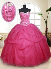 Traditional Hot Pink Sweetheart Lace Up Beading and Ruffles and Sequins 15th Birthday Dress Sleeveless