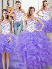 Inexpensive Four Piece Straps Sleeveless Beading and Lace and Ruffles Lace Up Sweet 16 Quinceanera Dress