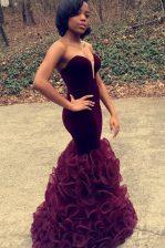 Elegant Floor Length Mermaid Sleeveless Purple Prom Dresses Zipper