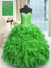 Amazing Organza Sleeveless Floor Length Quinceanera Dresses and Beading and Ruffles
