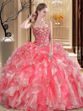Eye-catching Watermelon Red Sleeveless Organza Lace Up 15th Birthday Dress for Military Ball and Sweet 16 and Quinceanera