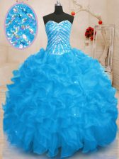 Baby Blue Sweetheart Lace Up Beading and Ruffles and Sequins Quinceanera Dress Sleeveless