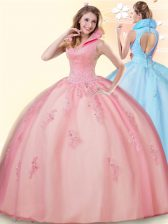 Colorful Pink Tulle Backless High-neck Sleeveless Floor Length 15 Quinceanera Dress Beading and Appliques