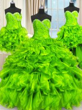 Custom Designed Four Piece Sleeveless Beading and Ruffles and Ruching Floor Length Sweet 16 Quinceanera Dress