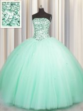 Inexpensive Puffy Skirt Sleeveless Lace Up Floor Length Beading and Sequins Quinceanera Dresses