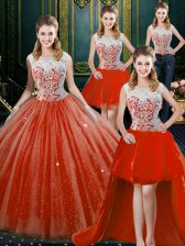 Four Piece Orange Red Ball Gowns Tulle High-neck Sleeveless Beading and Lace Floor Length Zipper Ball Gown Prom Dress