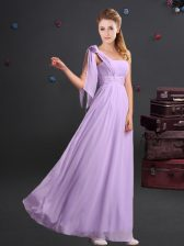 Cheap One Shoulder Floor Length Lavender Quinceanera Court Dresses Chiffon Sleeveless Ruching