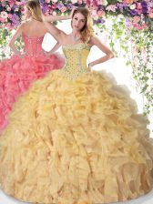 Sleeveless Organza Floor Length Lace Up Quinceanera Gown in Gold with Beading and Ruffles