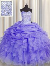 Ball Gowns Sweet 16 Quinceanera Dress Lavender Sweetheart Organza Sleeveless Floor Length Lace Up