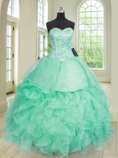 Classical Apple Green Lace Up Quinceanera Dresses Beading and Ruffles Sleeveless Floor Length
