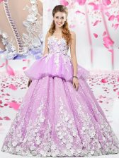 Scoop Sleeveless Floor Length Lace and Appliques Lace Up Sweet 16 Dress with Lilac