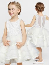 A-line Toddler Flower Girl Dress White Scoop Organza Sleeveless Knee Length Clasp Handle