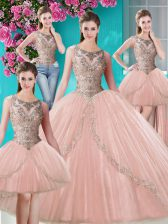 Sumptuous Four Piece Scoop Peach Sleeveless Floor Length Beading and Appliques Lace Up Quinceanera Dresses