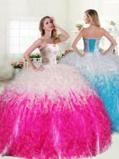 Pink And White Sweetheart Lace Up Beading and Ruffles Quinceanera Gown Sleeveless