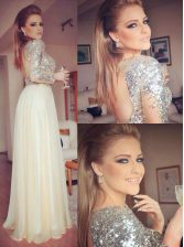 Romantic Champagne Chiffon Backless Sweetheart Long Sleeves Floor Length Prom Evening Gown Sequins