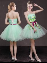 Shining Sleeveless Mini Length Appliques and Belt Lace Up Prom Dresses with Apple Green