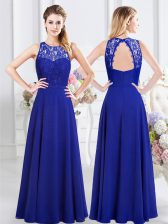 Colorful Scoop Royal Blue Chiffon Backless Quinceanera Court of Honor Dress Sleeveless Floor Length Lace