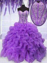 Organza Sweetheart Sleeveless Lace Up Beading and Ruffles Quinceanera Dress in Purple