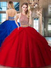 Halter Top Sleeveless Tulle Sweet 16 Dress Beading and Pick Ups Backless