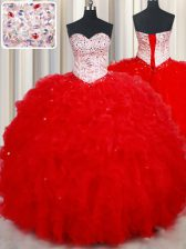 Red Sweetheart Lace Up Beading and Ruffles Sweet 16 Dress Sleeveless