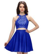 Taffeta Scoop Sleeveless Zipper Beading Prom Gown in Royal Blue