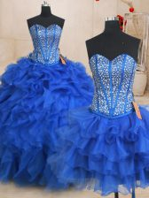 Fashionable Three Piece Floor Length Ball Gowns Sleeveless Royal Blue Sweet 16 Dress Lace Up