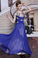Sequins Pleated Ball Gowns Dress for Prom Royal Blue Chiffon Sleeveless Floor Length Zipper