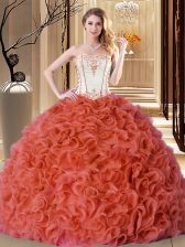 Floor Length Lace Up Quinceanera Gown Rust Red for Military Ball and Sweet 16 and Quinceanera with Embroidery and Ruffles
