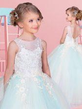 Ball Gowns Toddler Flower Girl Dress White and Light Blue Scoop Tulle Sleeveless Floor Length Backless