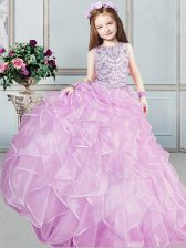 Organza Scoop Sleeveless Lace Up Beading and Ruffles Little Girls Pageant Dress in Lilac