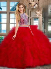 Best Red Two Pieces Scoop Sleeveless Tulle Floor Length Backless Beading and Ruffles 15 Quinceanera Dress