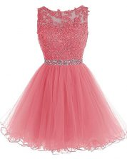 Scoop Knee Length Watermelon Red Evening Dress Chiffon Sleeveless Beading and Lace