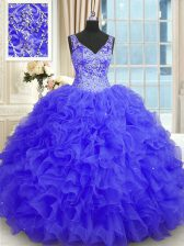 Floor Length Zipper Sweet 16 Dresses Purple for Military Ball and Sweet 16 and Quinceanera with Beading and Ruffles