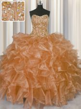 Stunning Visible Boning Champagne Ball Gowns Organza Strapless Sleeveless Beading and Ruffles Floor Length Lace Up Quinceanera Gown