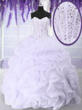 Dynamic White Sweetheart Neckline Beading and Ruffles Quinceanera Gown Sleeveless Lace Up