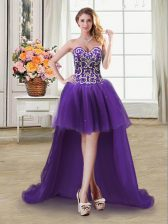 Tulle Sleeveless High Low Prom Evening Gown and Beading and Sequins