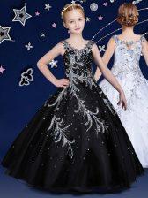 Black Organza Zipper Scoop Sleeveless Floor Length Little Girl Pageant Gowns Beading