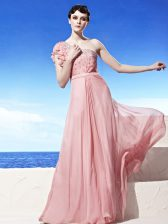 Pink Side Zipper One Shoulder Beading Prom Evening Gown Chiffon Sleeveless