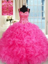 Sweet Hot Pink Sweet 16 Quinceanera Dress Military Ball and Sweet 16 and Quinceanera with Embroidery and Ruffles Straps Sleeveless Lace Up