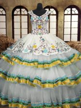 Sleeveless Floor Length Embroidery and Ruffled Layers Lace Up Quinceanera Dress with Multi-color
