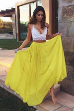Ruching Prom Gown Yellow Zipper Sleeveless Floor Length