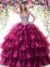 Ruffled Fuchsia Sleeveless Organza Lace Up Sweet 16 Quinceanera Dress for Military Ball and Sweet 16 and Quinceanera