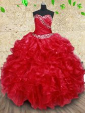 Floor Length Lace Up 15th Birthday Dress Red for Military Ball and Sweet 16 and Quinceanera with Beading and Ruffles