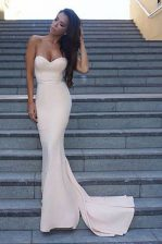 Fantastic White Mermaid Elastic Woven Satin Sweetheart Sleeveless Ruching Backless Dress for Prom Sweep Train