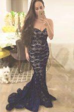 Mermaid Lace Evening Dress Navy Blue Zipper Sleeveless With Train Sweep Train