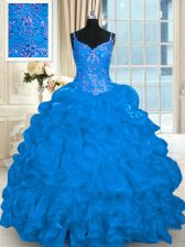Hot Selling Spaghetti Straps Sleeveless Organza Sweet 16 Quinceanera Dress Beading and Embroidery and Ruffles and Pick Ups Brush Train Lace Up