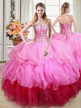Spectacular Sequins Sweetheart Sleeveless Lace Up Sweet 16 Quinceanera Dress Multi-color Organza