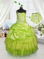 Yellow Green Ball Gowns One Shoulder Sleeveless Satin and Tulle Floor Length Lace Up Beading and Ruffled Layers and Pick Ups Kids Pageant Dress