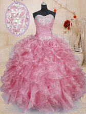 Modest Pink Lace Up Sweetheart Beading and Ruffles Quinceanera Gown Organza Sleeveless