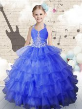 Hot Sale Royal Blue Lace Up Halter Top Beading and Ruffled Layers Little Girls Pageant Dress Wholesale Organza Sleeveless